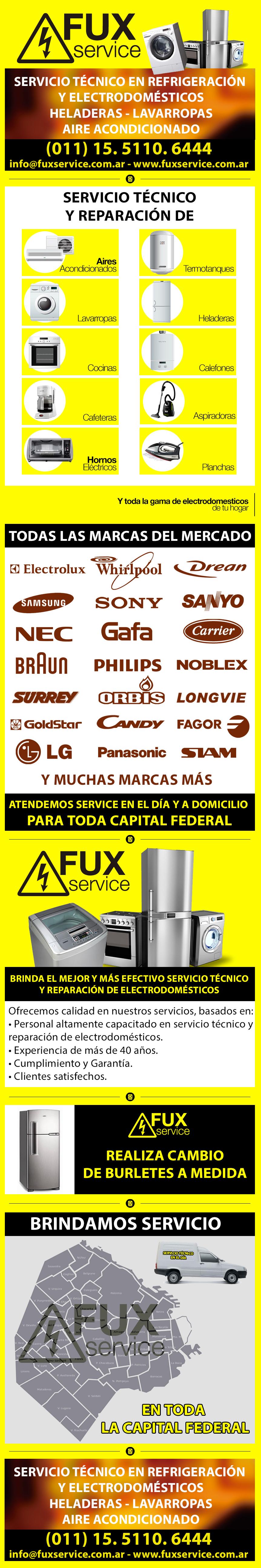 Fux Service - Servicio técnico, reparación de electrodomésticos - aire - estufas - lavarropas - heladeras